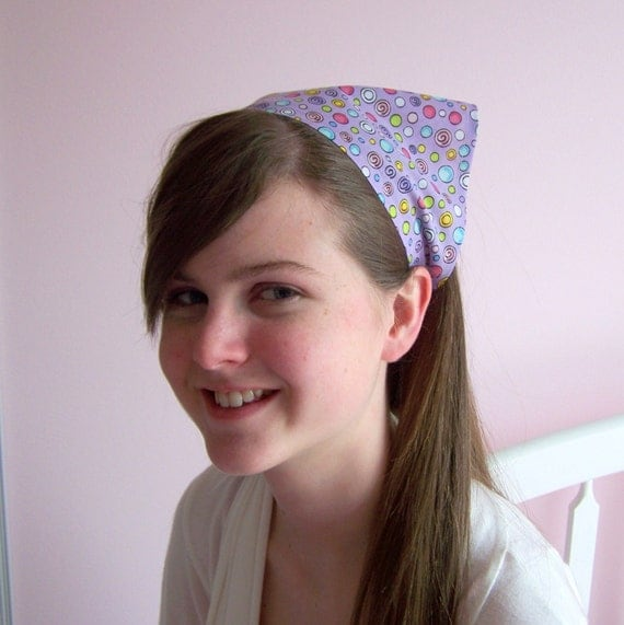 Bandana Headband Purple with Circles
