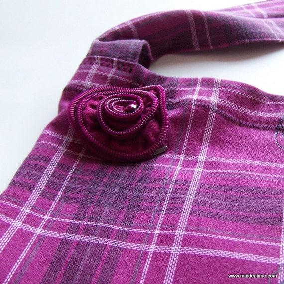 Shoulder Tote - Unique Upcycled Sweatshirt - Purple Pink Plaid
