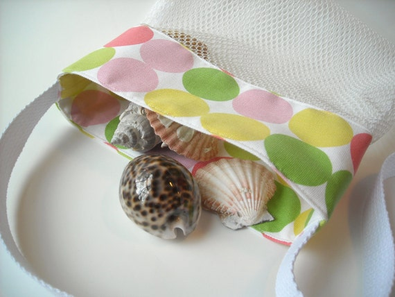 Mesh Beach Bag - Polka Dot Fabric - Shell Collecting Bag  - Sea Shell Tote