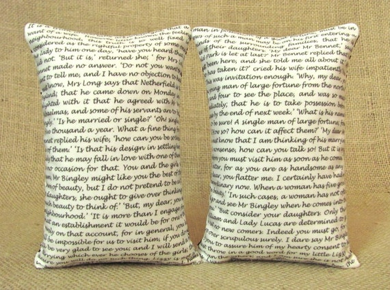 Pride and Prejudice - Jane Austen Bookends - Shelf Pillows