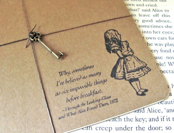 Alice In Wonderland Hand Stamped Large Moleskine Notebook with Key Charm (Impossible Things)