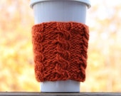 Pumpkin Pie Cable Knit Coffee Cozy