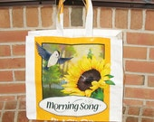 Upcycled market bag for bird lovers