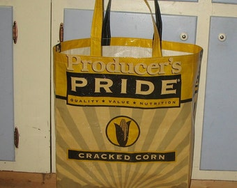 Upcycled Reusable market grocery tote bag for farm lovers