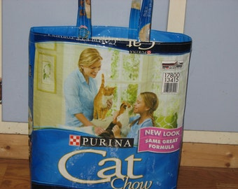 Upcycled Reusable market grocery tote bag for cat lovers