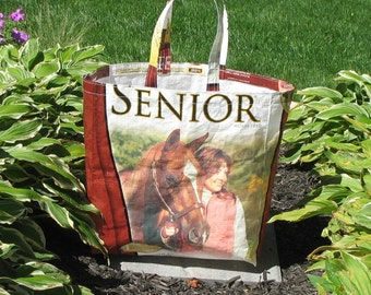 Upcycled Reusable market grocery tote bag for horse folks