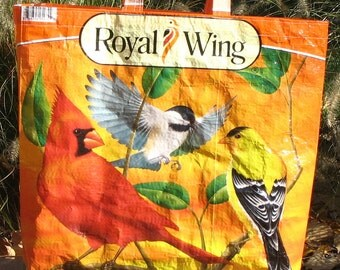 Upcycled Reusable market grocery bag compliments of Royal Wing birds