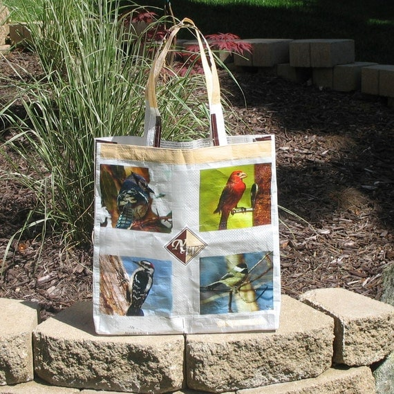 Upcycled Reusable market grocery bag for bird lovers