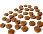 36 Wood Rondelle Mini Disk Beads 10mm