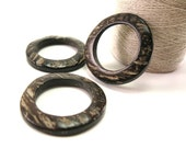 Coconut Dark Brown Ring Link Disks Set of 6 - 38mm - Natural Nut Discs Beads  (PC211)
