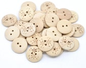 Wooden button - Flower Pattern 2 Holes Unfinished Wood Sewing Buttons Natural Color 20mm - set of 12  (BB116B)