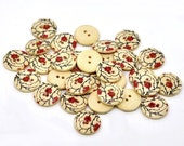 Wooden button - Red flowers Pattern 2 Holes Wood Sewing Buttons Natural Color 18mm - set of 6  (BB110)