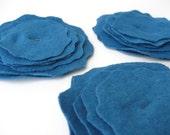 Eco Friendly Flowers embellishment appliques - Set of three - Blue azure organic cotton and hemp