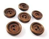 6 Dark Brown wood button 15mm