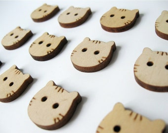 Wood Button Cat Face Shaped Natural dyed Wooden Button Set of 6  (BB107)