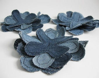 Jeans Fabric Flowers Set of three eco friendly embellishment applique