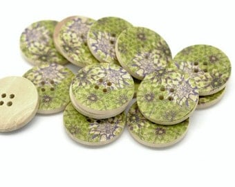 Green and Plum Wooden Buttons 30mm - Natural wood flowers pattern painting set of 6  (BB105R)