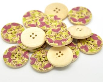 Fushia Pink and Green Flower Pattern Wood Sewing Buttons 30mm - Natural wooden button set of 6  (BB105J)