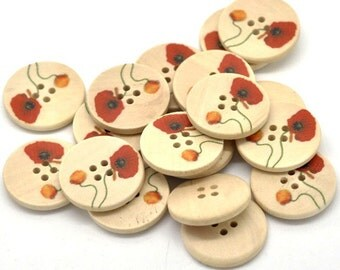 Natural wood button with Flower Poppy Pattern 25 or 30mm - set of 6 natural sewing wood button  #BB106