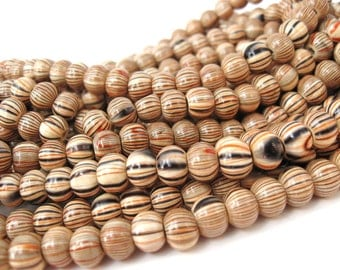 Stripped Beads Natural Wood Multicolor 8mm round 40pcs  (PB229)