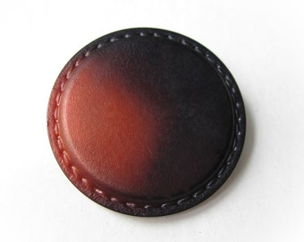 Faux Leather Extra large button - 1 black and rust vintage button 42mm