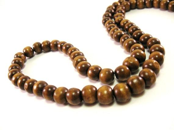 Wood Beads Natural Brown 9mm round 50pcs  (PB210)