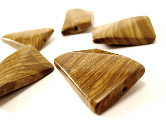 6 Natural Wood Lace Stone Beads Brown Sienna Rectangle 30mm x 20mm  (PP301A)