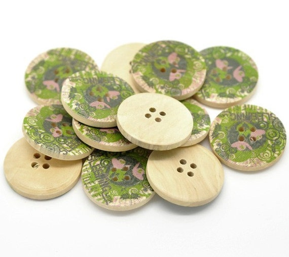 Olive Green and Pink Flower Pattern Wooden Sewing Buttons 3cm - Natural wood button set of 6  (BB105Q)