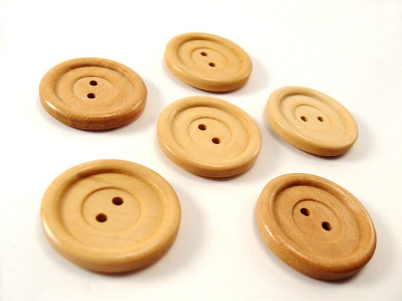 Natural wood button set of 5 large button 30mm - Last set