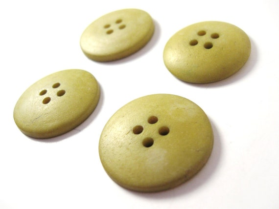 4 Olive Bone Buttons Natural and Eco Friendly 25mm  (BN111B)
