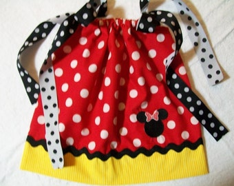 I LOVE MINNIE MOUSE pillowcase dress with applique