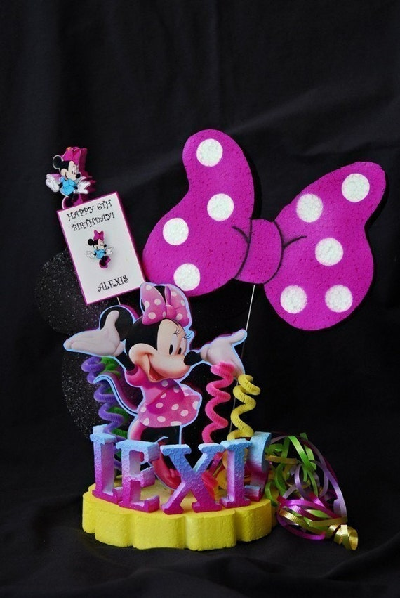 Birthday Minnie Mouse cake by BoogerbearPunkinpooh on Etsy