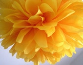 MARIGOLD / 1 tissue paper pom / wedding decorations / diy / birthday party decor / nursery decorations / gold yellow decorations / pompoms