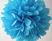 TURQUOISE / 1 tissue paper pom pom / wedding decorations / diy / birthday party decorations / turquoise blue decorations / blue pompoms