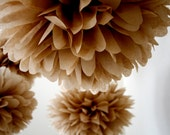 NEUTRAL / 5 tissue paper pom poms / wedding decorations / diy / pompoms / nursery poms / brown decorations / neutral decorations