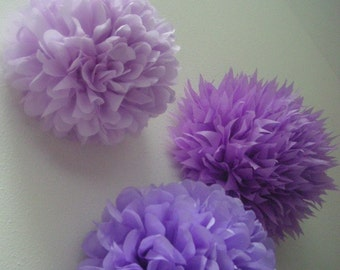 LAVENDER / 3 tissue paper pom poms / birthday party decor / nursery decoration / wedding decorations / diy  / purple decorations / pompoms