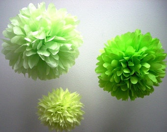 LIME POP ... 3 tissue paper poms // birthday party // holiday decorations // neon green // diy // st. patricks day