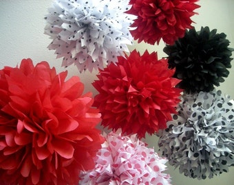 LADYBUGS tissue paper pom kit / set of 10 / ladybug baby shower first birthday party mickey mouse red, black, white, polkadot decorations