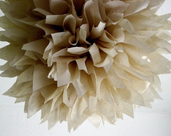 SAND / 1 tissue paper pompom / wedding decorations / diy / bridal shower decoration / anniversary party pom / rustic wedding decoration