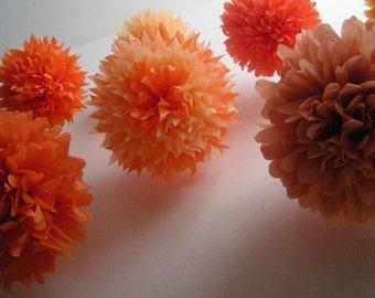 ORANGES / 10 tissue paper pom poms / diy wedding decorations / baby shower decor / halloween poms / classroom decor / orange decorations