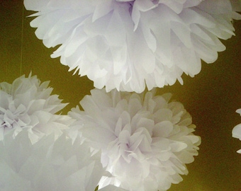 OPTIC WHITE / 10 tissue paper pom poms / white wedding decorations / christening decorations / baptism decorations / hanging poms / pompoms