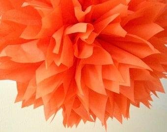Poppy / 1 tissue paper pom pom / diy / wedding decorations / birthday poms / graduation / orange decoration / halloween decorations