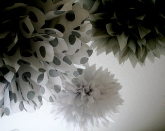 SILVER MOON / 3 tissue paper pom poms / wedding decorations / diy / silver anniversary / graduation party / nye / silver decorations / poms