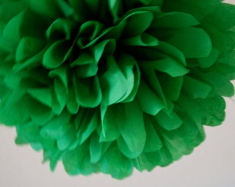KELLY GREEN / 1 tissue paper pompom / holiday decoration / wedding decorations / green decorations / hanging poms / pompoms / diy / pomander