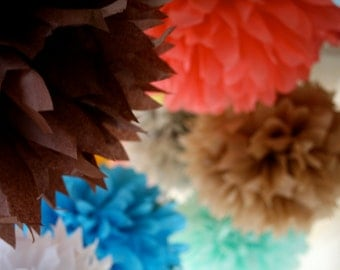 CUSTOM COLORS / 20 tissue paper pom poms / diy / wedding decorations / baby shower pompom / birthday party decor / party decorations / poms