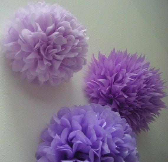 LAVENDER / 3 tissue paper pom poms / birthday party decor / nursery decoration / wedding decorations / diy  / purple decorations / pompoms