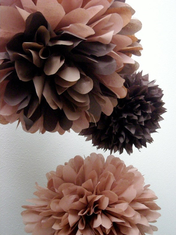 Chocolate Trio  3 tissue paper poms // diy // by PomLove