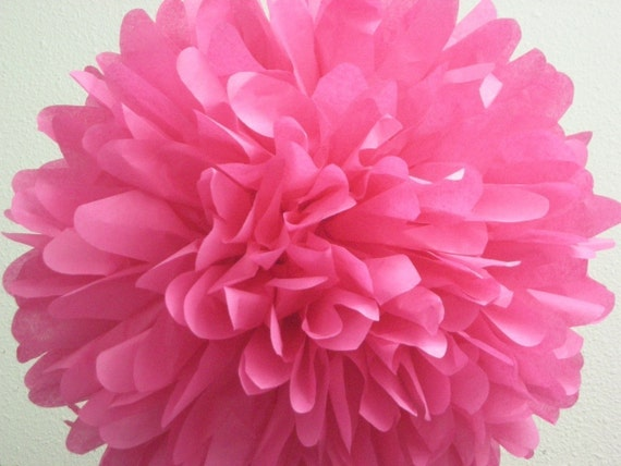 HOT PINK / 1 tissue paper pompom / birthday hot pink decorations / wedding decorations / diy / hanging poms / paper pom flowers / pompoms