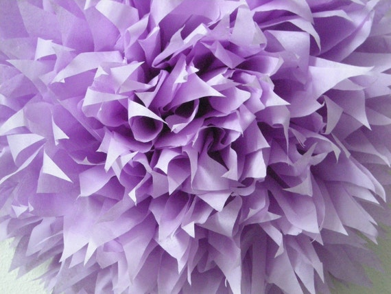LILAC / 1 tissue paper pompom / diy / wedding decorations / purple decorations / birthday party poms / aisle marker pom / easter decor