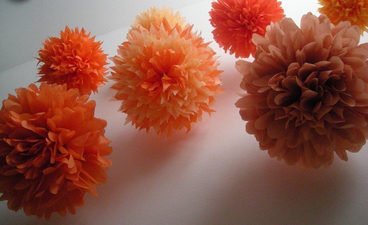oranges 10 tissue paper pom poms diy wedding decorations. Black Bedroom Furniture Sets. Home Design Ideas